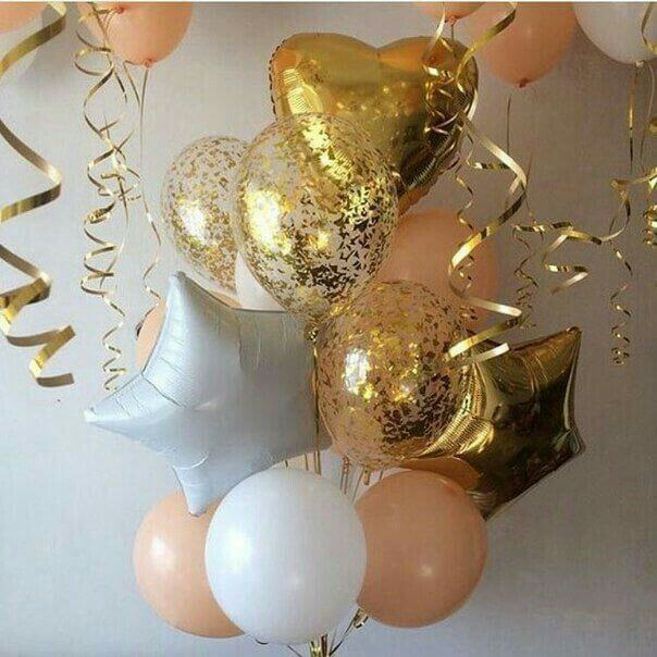 Bridal Shower Gold And White Balloon Bouquet Google Search In 2020 Party Balloons 18th Birthday Party Birthday Decorations