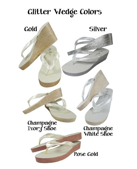 99852f140e10 White Bride Wedge Flip Flops with Champagne Bling wedge platform - Ivory-  choose heel height- gold s