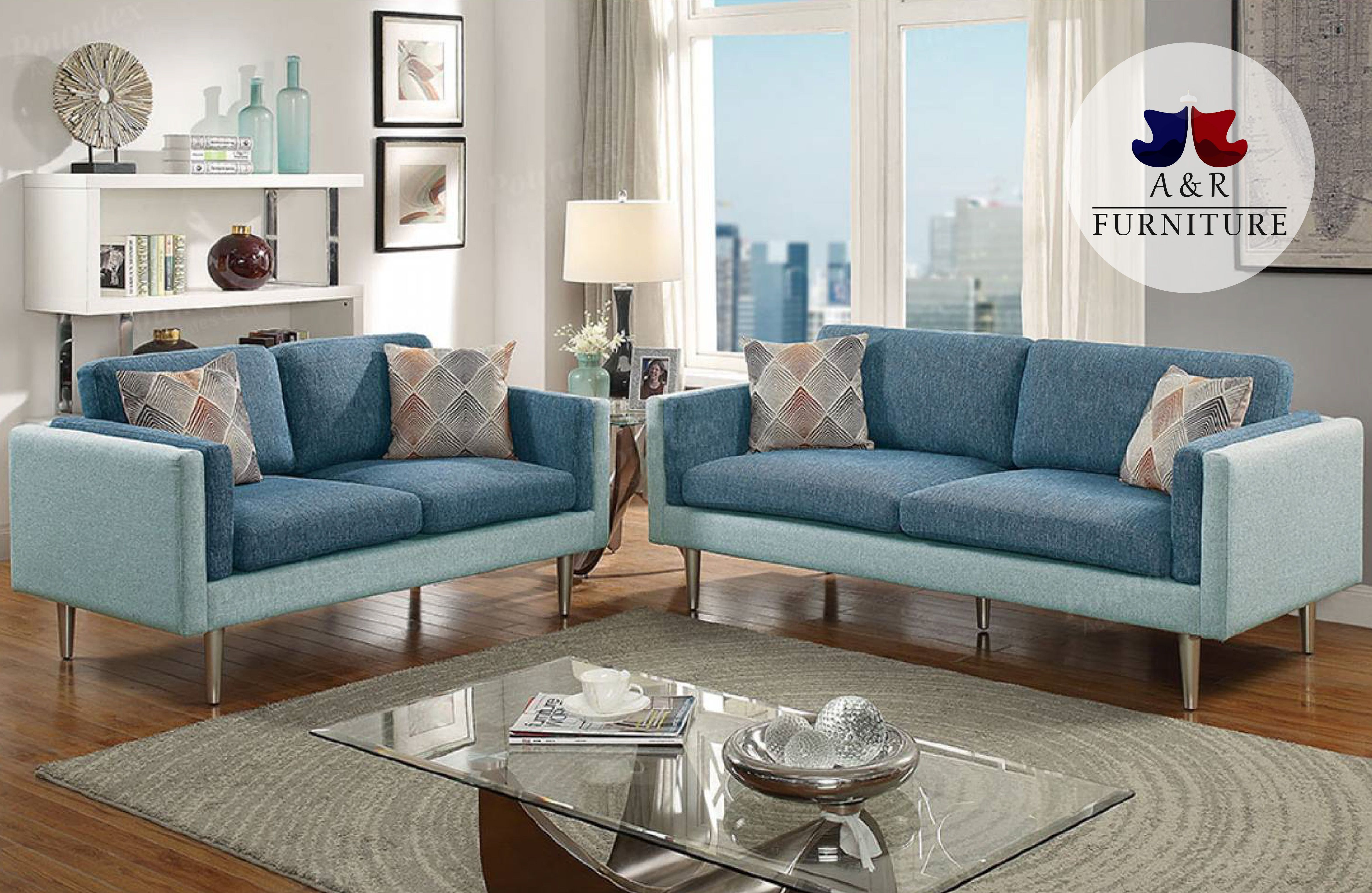 2 Pcs Blue Sofa Set Ly From Your Phone And Get Roved In Minutes No Credit