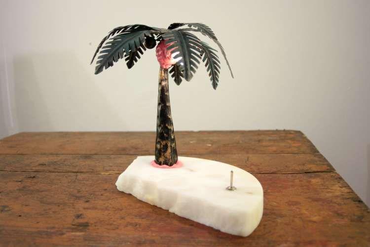 One of kind, table lamp Oispa Teneriffalla, 2017 fake palm, fake marble, plastic filler, LED 12V Hight 21 cm Teemu Salonen #design #lamps #contemporary