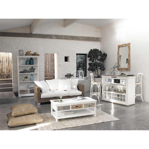 Meuble de bar avec tiroirs en bois blanc effet vieilli l for Style romantique meuble