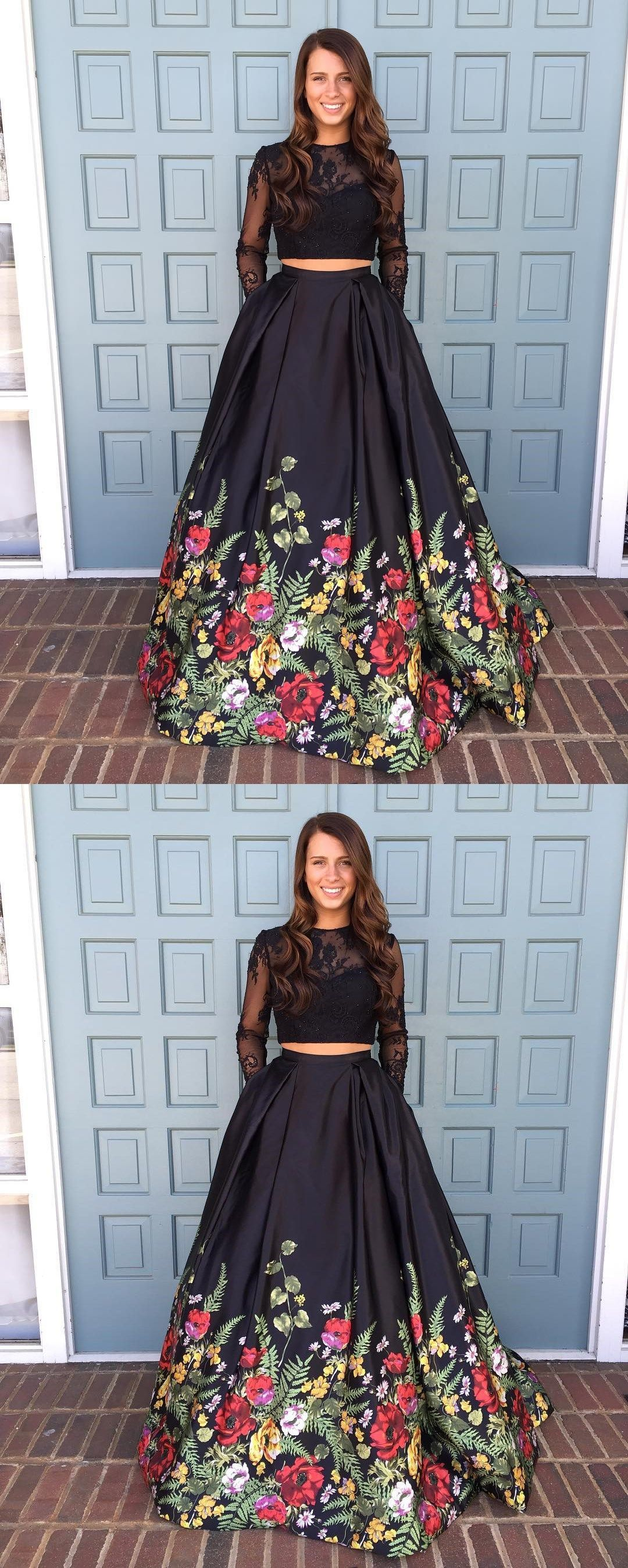 Two Piece Prom DressBlack Floral Long Prom Dress Long Sleeves Prom
