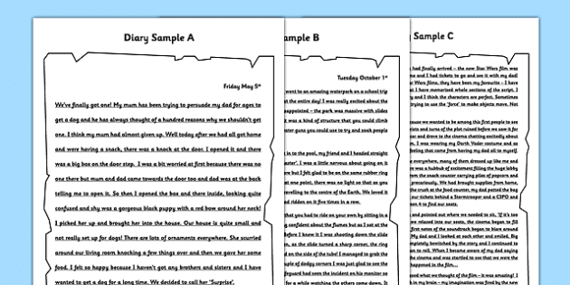 diary writing examples wagoll features checklist diary