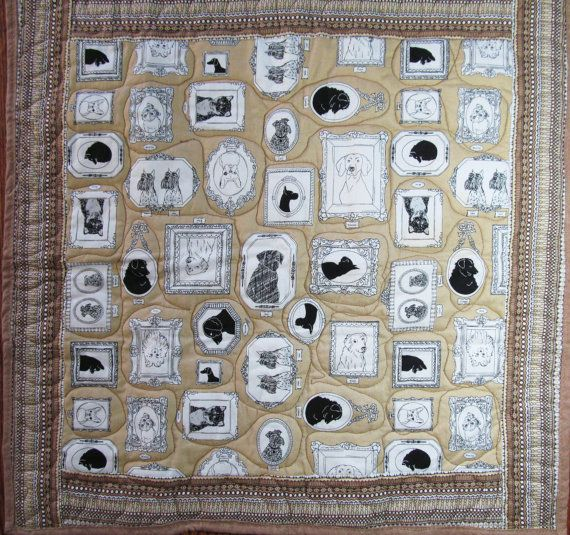 """My quilt on Etsy - Dog Quilt, Puppy Quilt, Doggy 22"""" x 23.5"""" (D-40) Cotton Fabric & Non-allergenic Polyester batting via Etsy"""