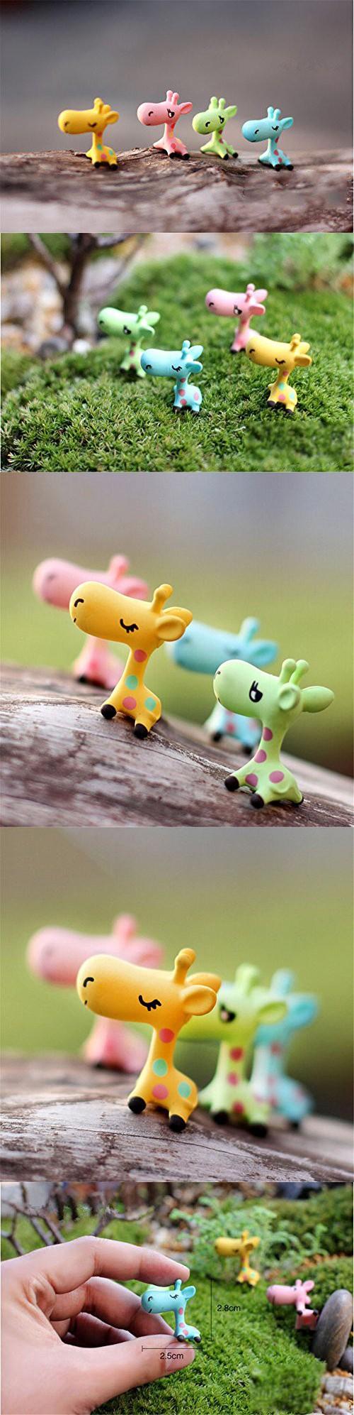 Danmu 4pcs Mini Resin Giraffes Miniature House Fairy Garden Micro ...