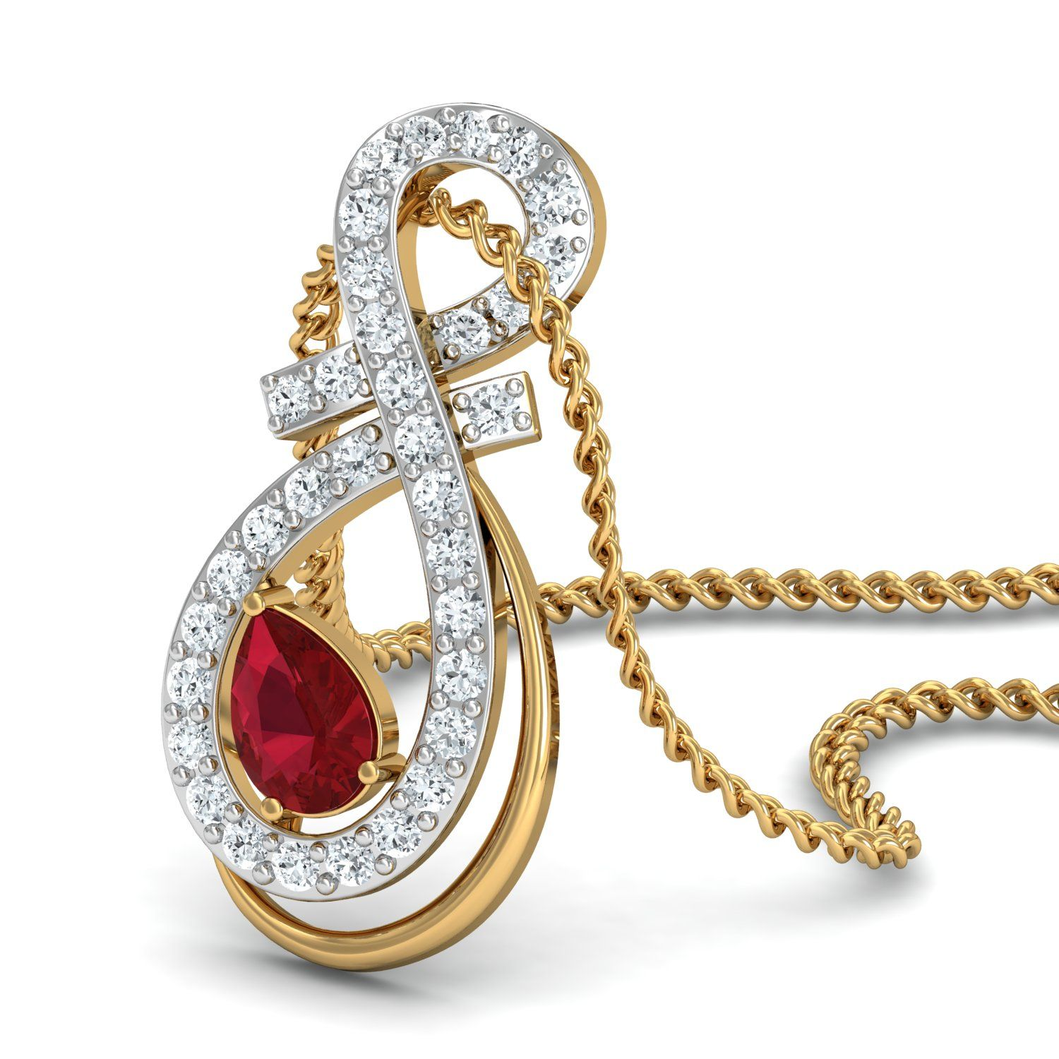 cd50363cbde Ruby Gemstone Pendant 0.23 Ct Real Certified Diamond Solid Gold ...