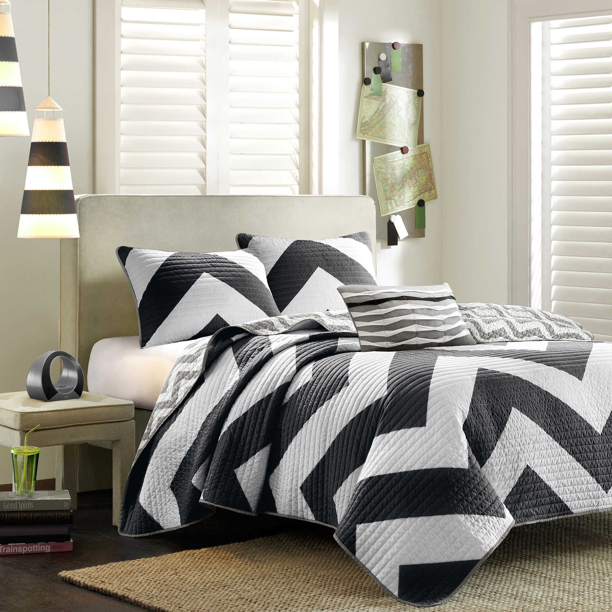 Give Your Bedroom A Modern Touch With The Eye Catching Mi Zone Reversible  Libra Coverlet Set. Decked Out In 2 Super Chic Grey And White Chevronu2026
