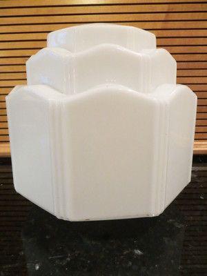 "Vintage White Milkglass Tiered Art Deco Schoolhouse Light Fixture Shade, 4"" fitter, $10."
