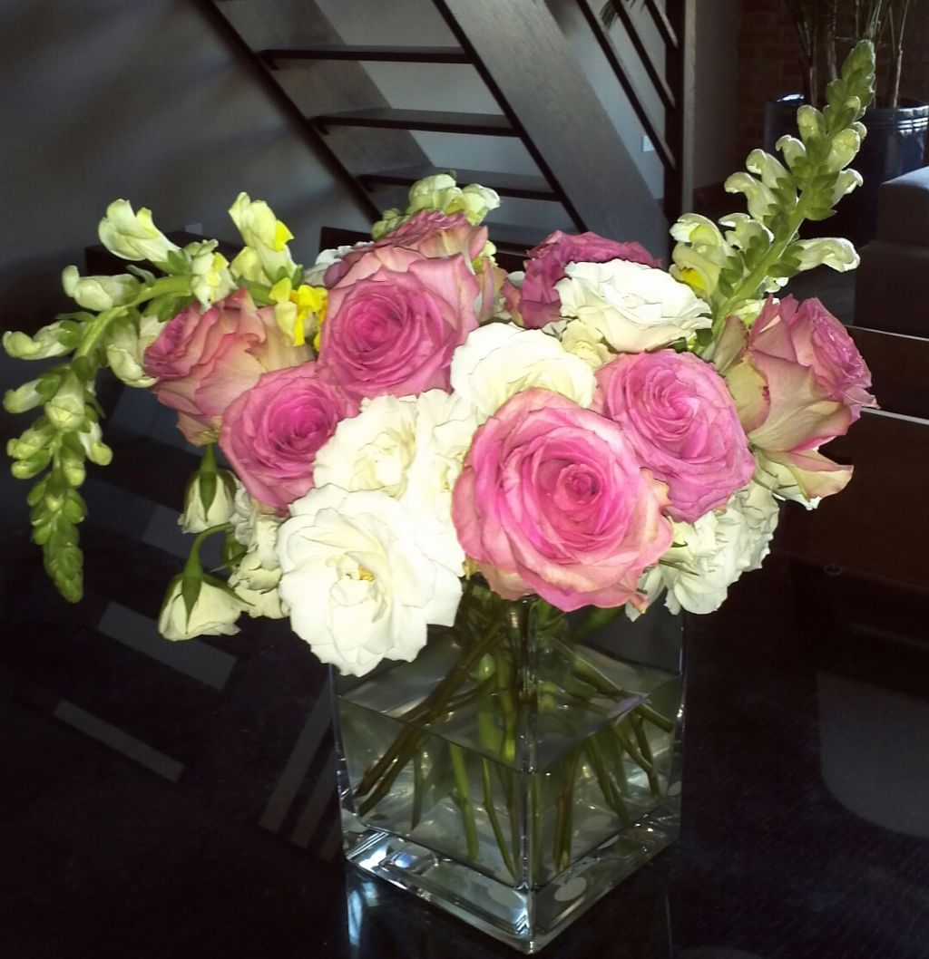 Cat-friendly (non-toxic) flower arrangement: roses and snapdragons ...