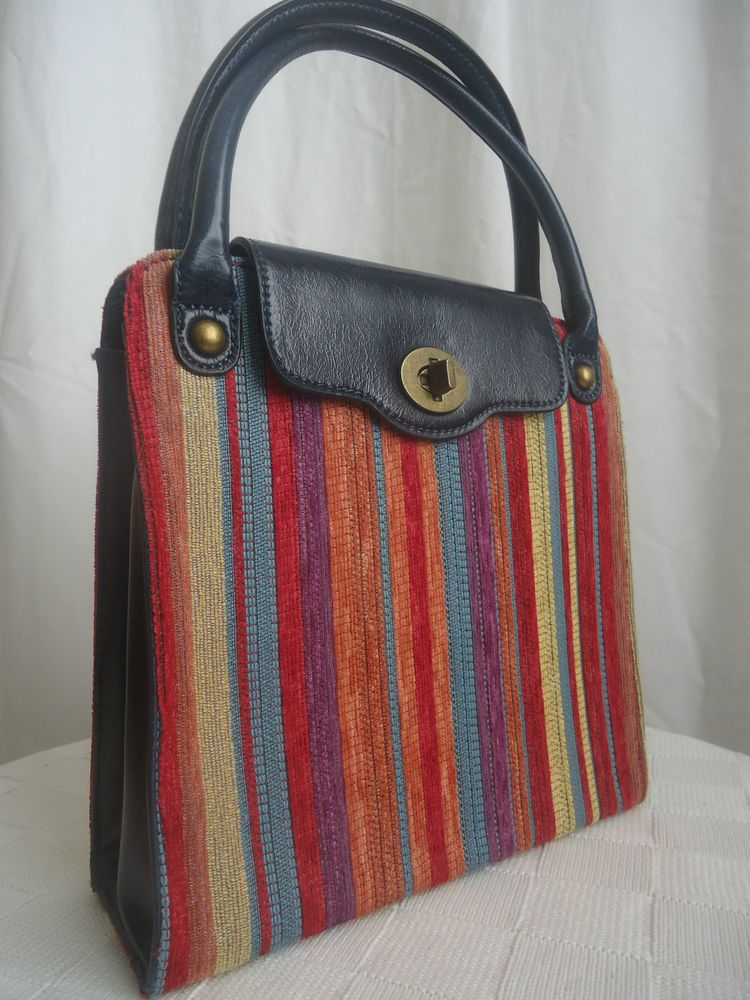 Edina Ronay London Fabric Leather Handbag Bag Multi Colour Stripe 2 Handle Style