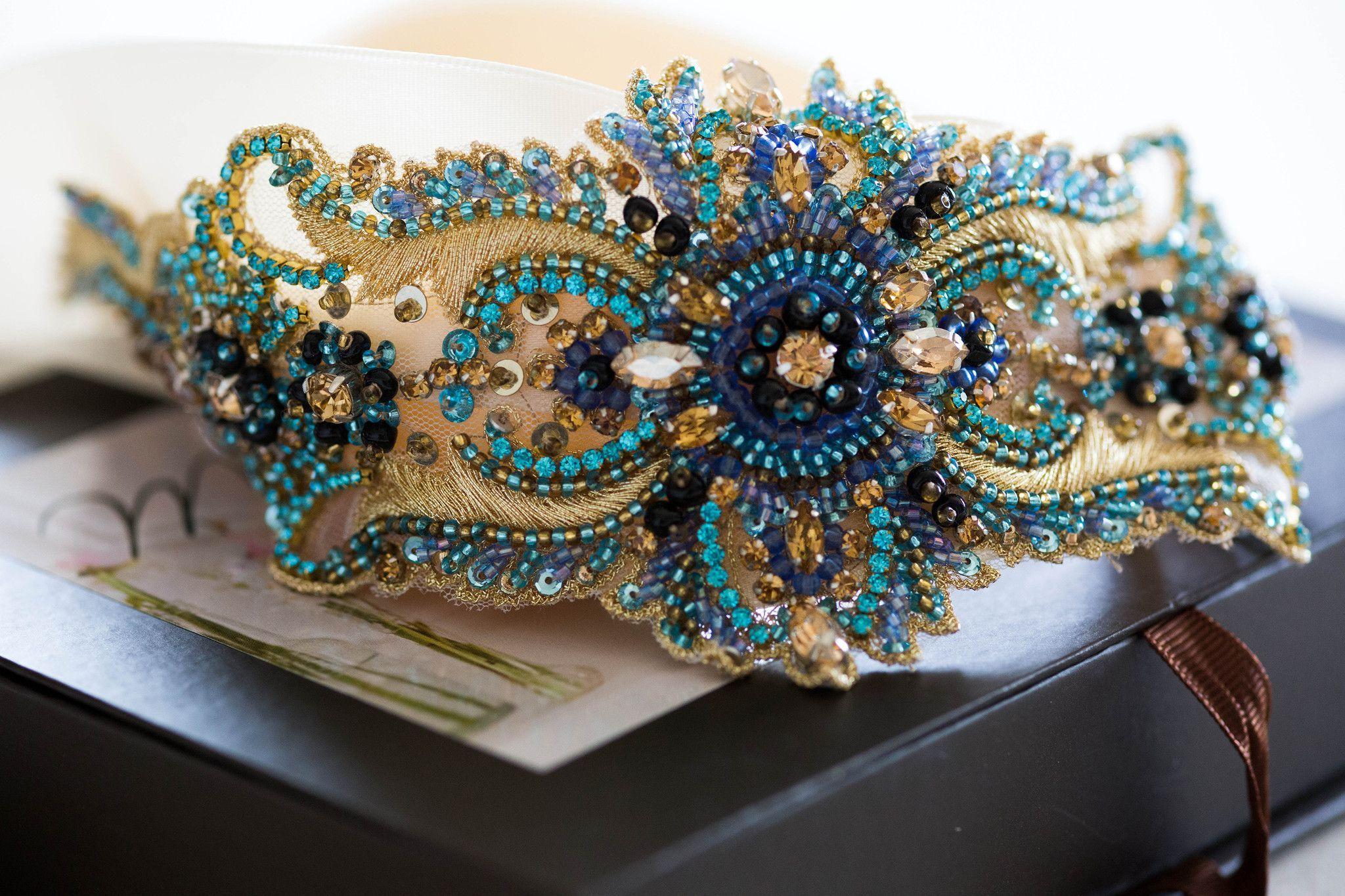Art Deco Wedding Gowns: Blue Bridal Sash - Art Deco Blue