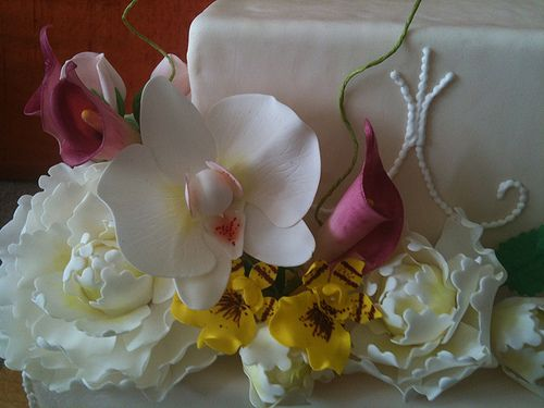 Sugar Flower Bouquet - Phalaenopsis Orchid, Peonies, Calla Lilies, Dancing Lady Orchids, Rose Buds