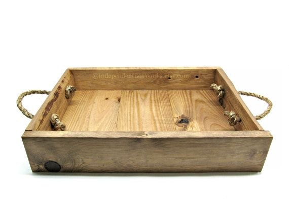 Rustic wooden serving tray handmade light cherry stained