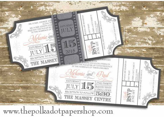 elegant movie pass wedding invitation with belly band on etsy 425 cad - Movie Ticket Wedding Invitations
