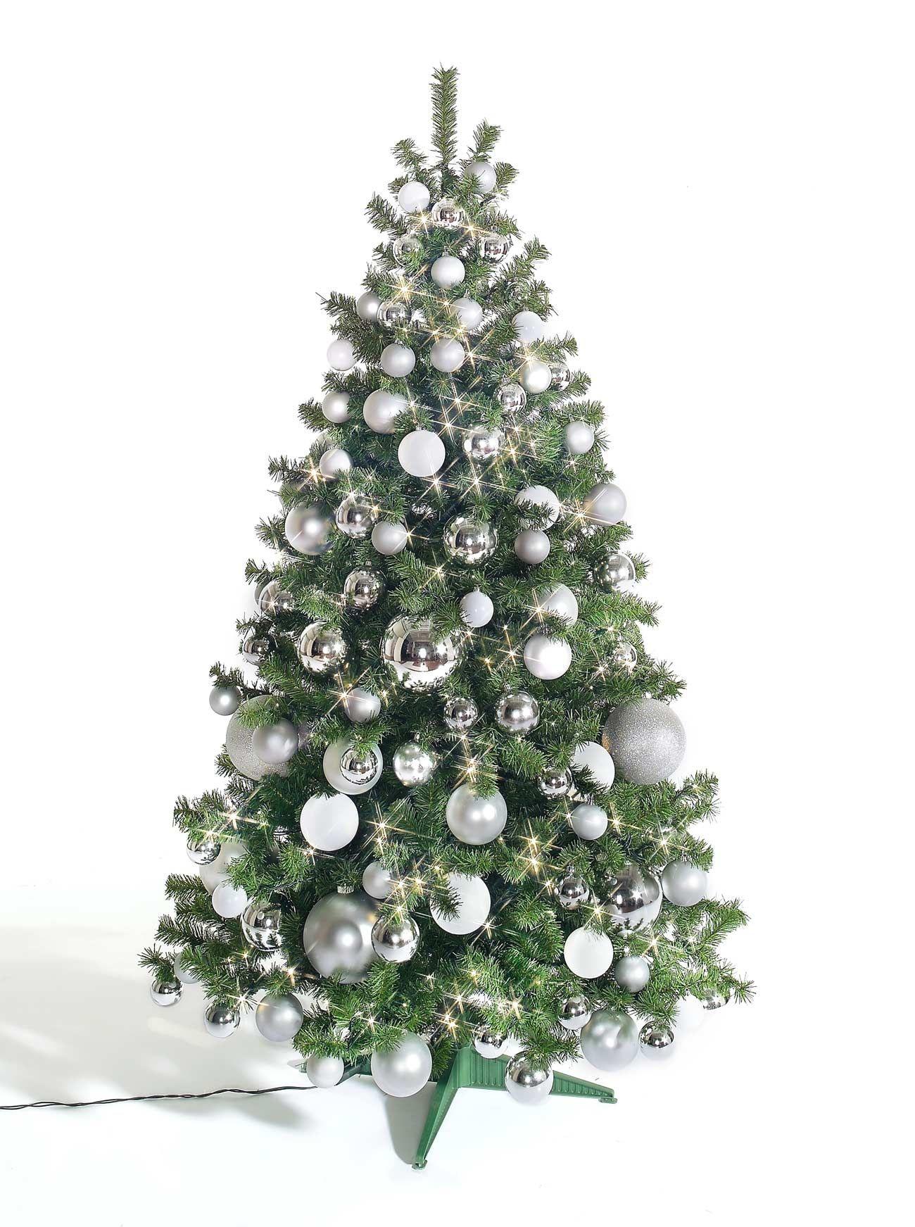 barcana slimline weihnachtsbaum mit silbernen dekor und led licht 180 cm hoch k nstliche. Black Bedroom Furniture Sets. Home Design Ideas