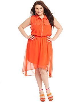 Love Squared Plus Size Dress Sleeveless High Low Shirtdress Junior Plus Sizes Plus Sizes Macy S Plus Size Dress Dresses Plus Size Dresses