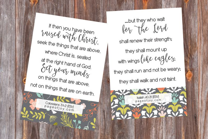 New Years Bible Verse Card Printables | Page of Joy | New ...
