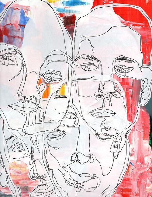 Resultado de imagen de collage faces sketches