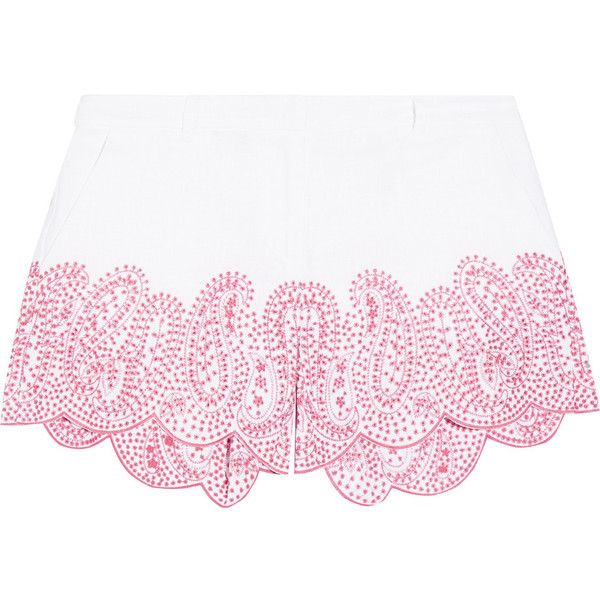 MICHAEL Michael Kors Broderie anglaise linen shorts (1 285 SEK) ❤ liked on Polyvore featuring shorts, white, white linen shorts, tailored shorts, white tailored shorts, white shorts and linen shorts