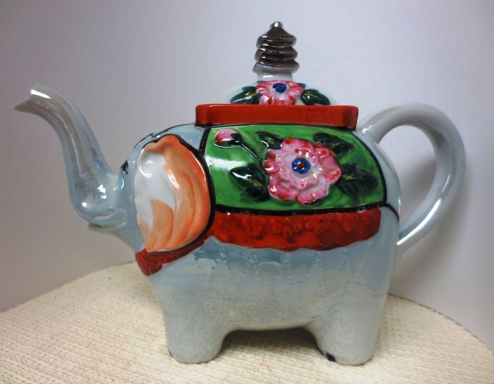 Japan Vintage 1950s Lustre Luster Lucky Elephant Teapot Pink Flower Decoration