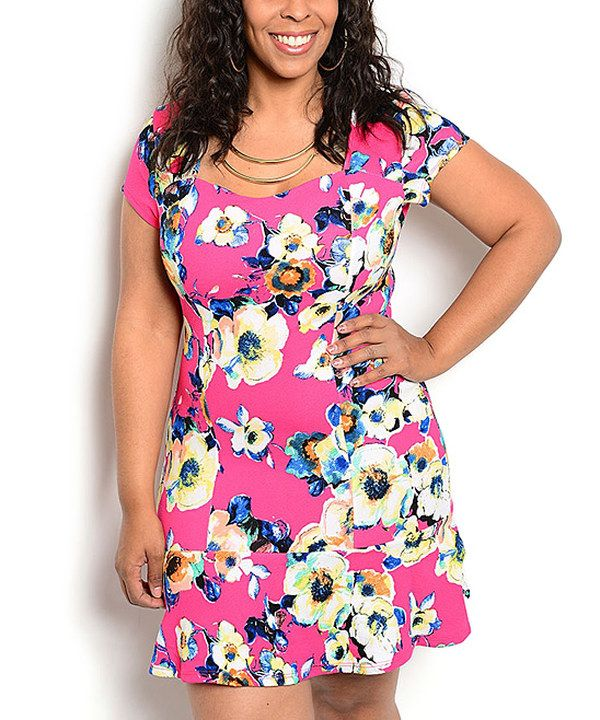 Look at this Fuchsia Floral Cap-Sleeve Dress - Plus on #zulily today!