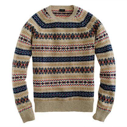 J. Crew lambswool Inverness Fair Isle men's sweater, S, heather ...