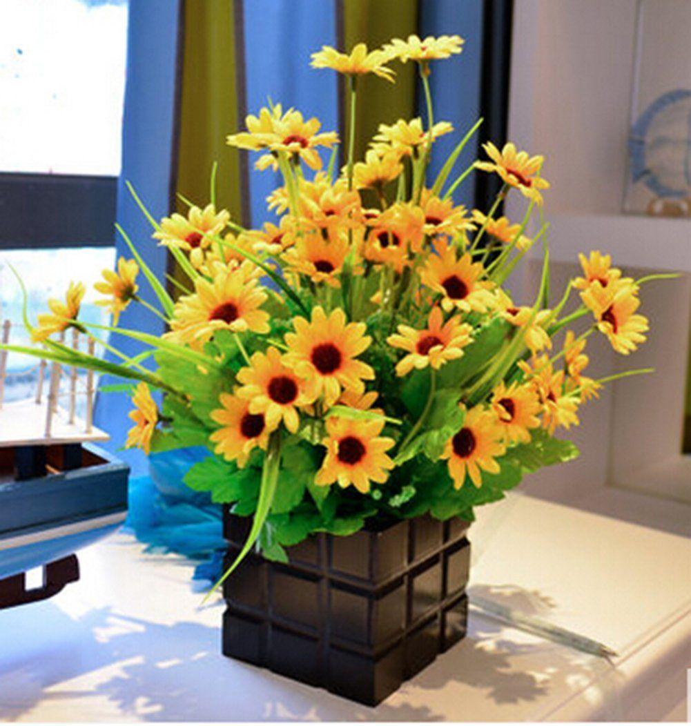 Sunflowers Simulation Artificial Flower Suit The Living Room Small Decorative Silk Plastic Pot Bonsai