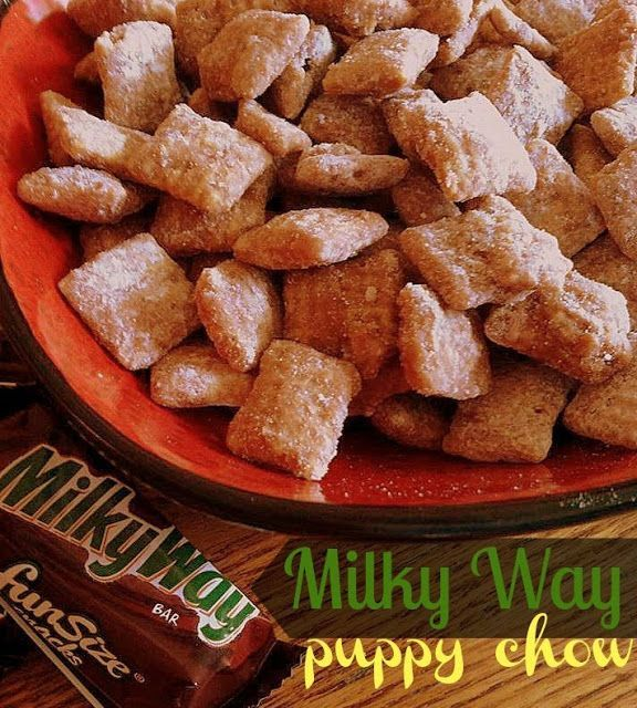Milky Way Puppy Chow: Melt together 8 full size Milky Way bars and 1/2 c butter. Place 8 c rice or corn Chex in a lidded container