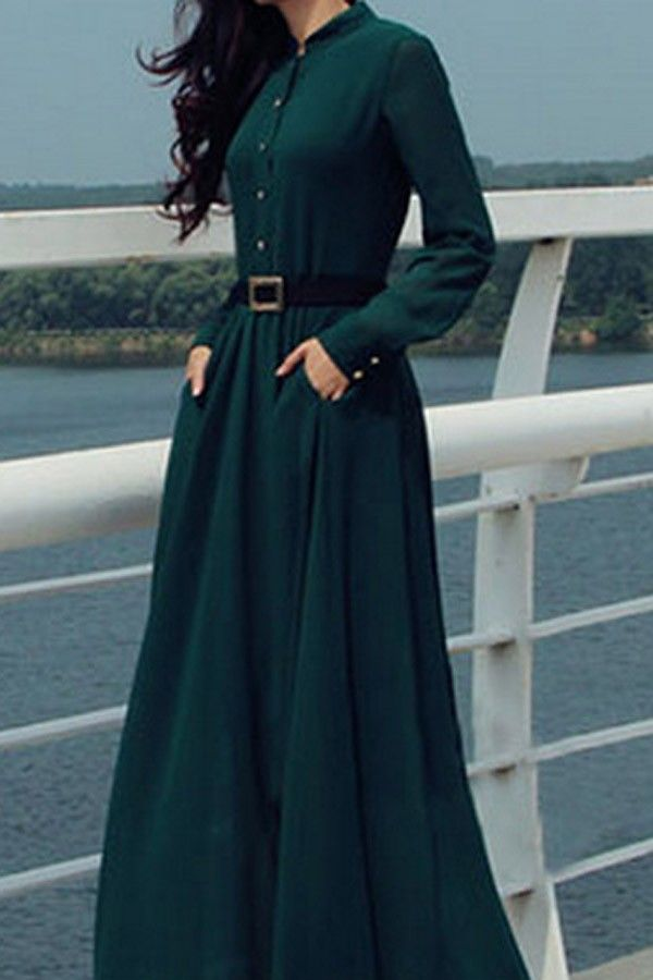 d40887d6142 Make sure you look seriously elegant this season in this standout dark  green maxi dress. In totally on point chiffon fabric this long sleeve  number will ...