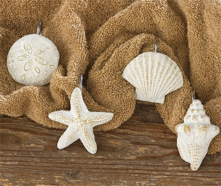 coastal shells shower curtain hooks - set of 12 park designs