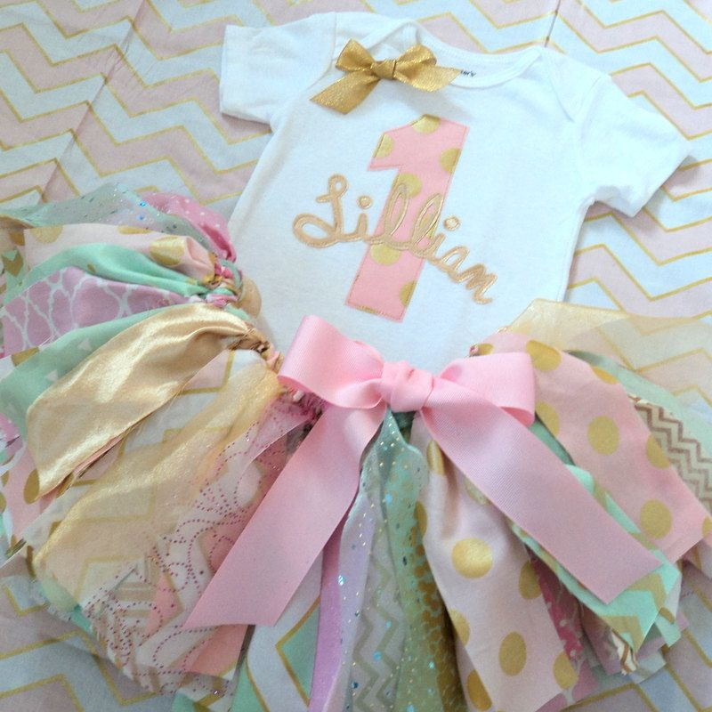 Baby Girls 1st Birthday Outfit, Pink Mint Gold Fabric Tutu