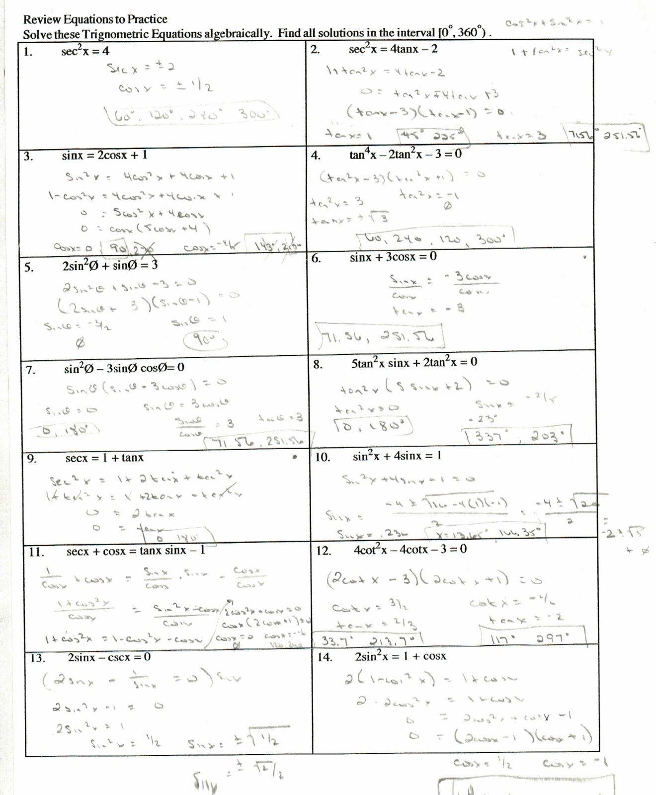 Recent Verifying Trig Identities Worksheet