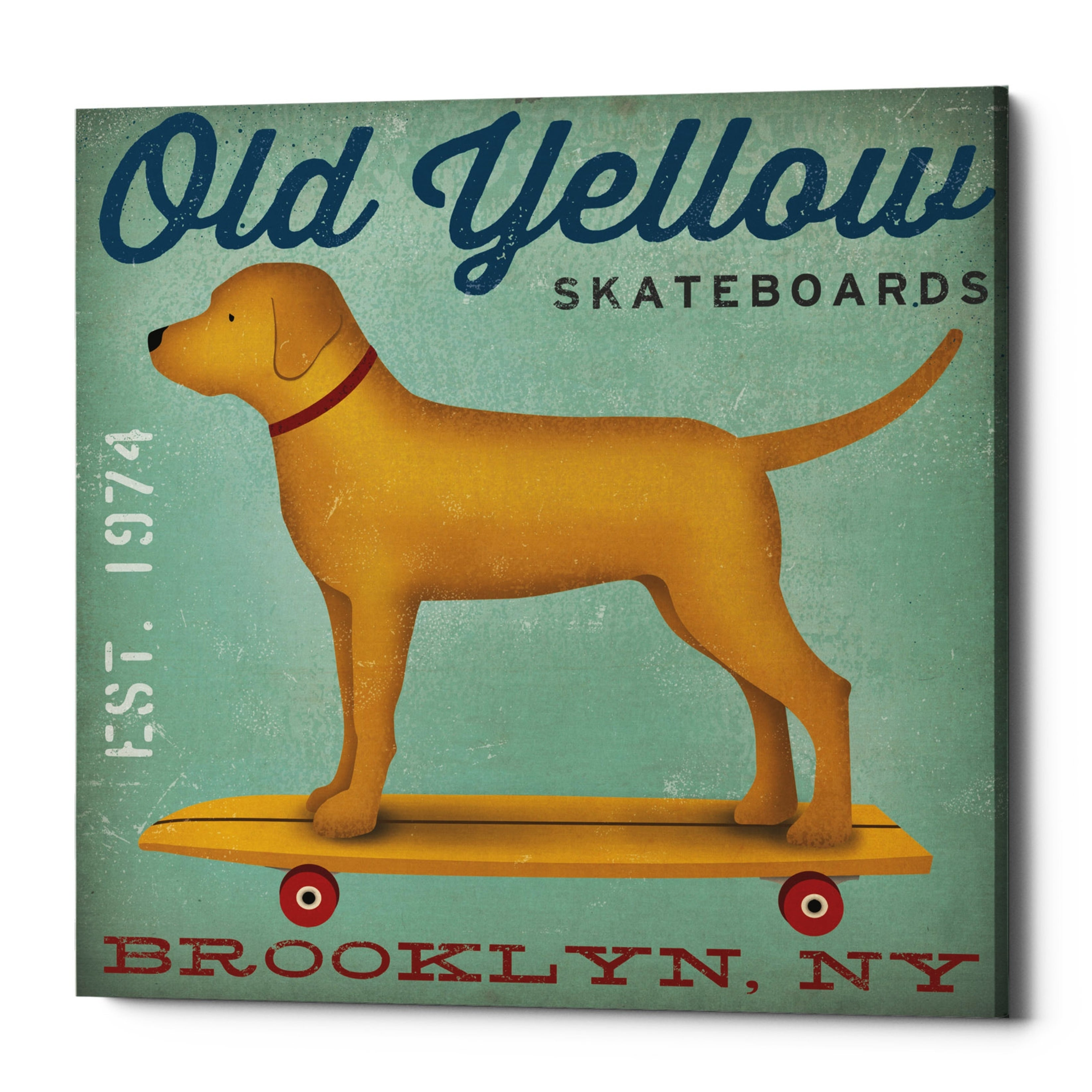 Old Yellow Skateboards Golden Lab Brooklyn NY by Ryan Fowler 12x12 Poster