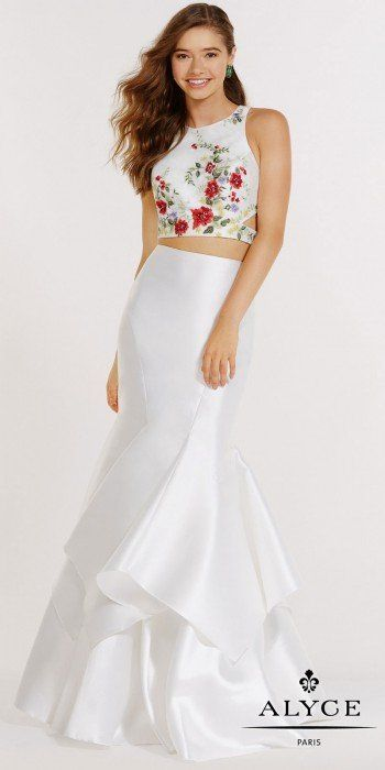 Make a one of a kind statement in this jaw dropping Two Piece Floral ...
