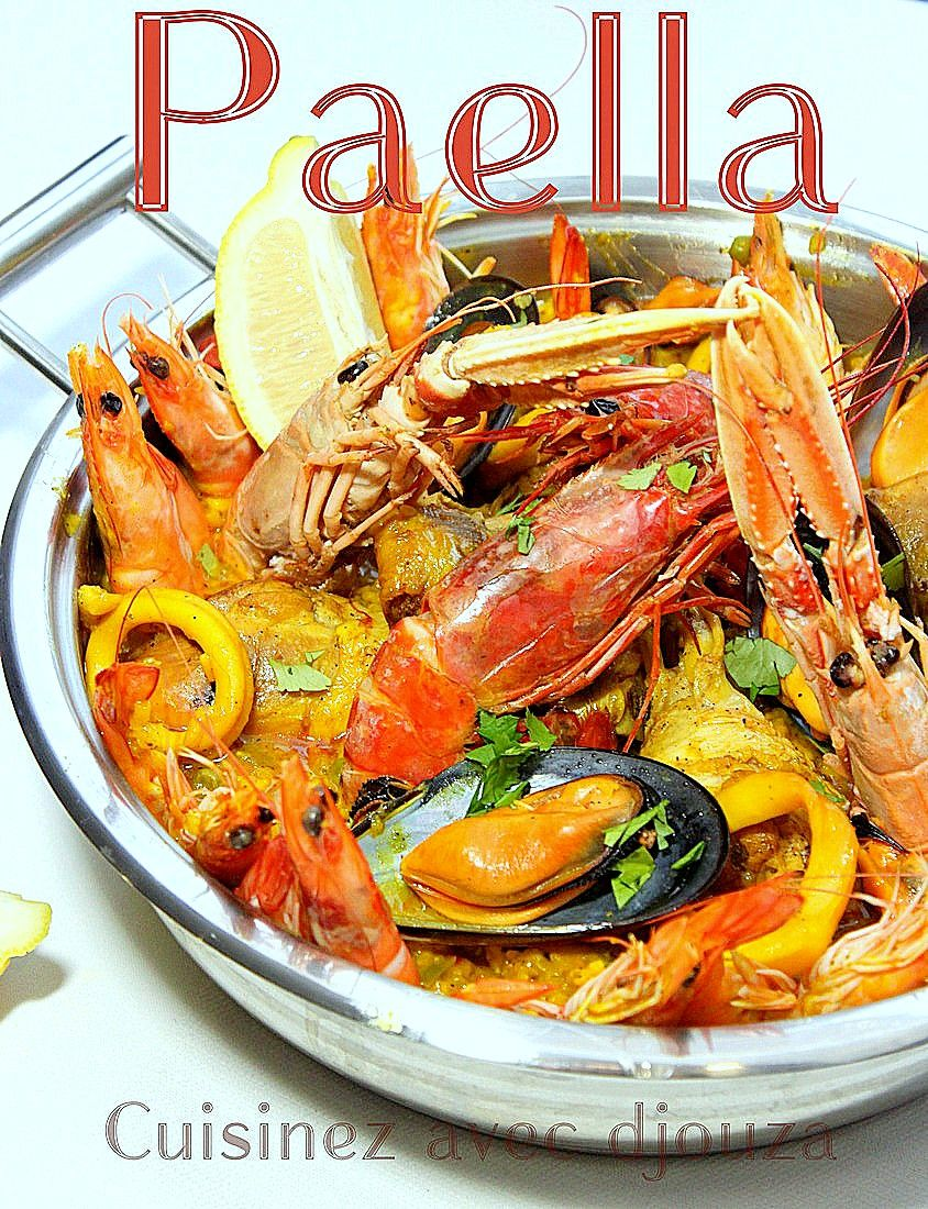 recette de la paella espagnole au poulet et fruits de mer avec gambas crevettes moules. Black Bedroom Furniture Sets. Home Design Ideas