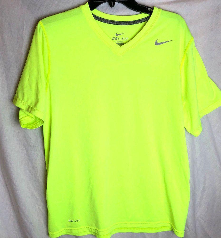 7e4f5b33 Nike Dri-Fit Training Shirt Size Medium Mens Neon V-Neck Legend Short  Sleeve Run #Nike #ShirtsTops