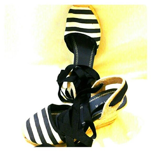 ESPADRILLS  LACE UP BLUE AND WHITE STRIPED ESPADRILLS WITH LACE UP RIBBONS Unisa Shoes Espadrilles