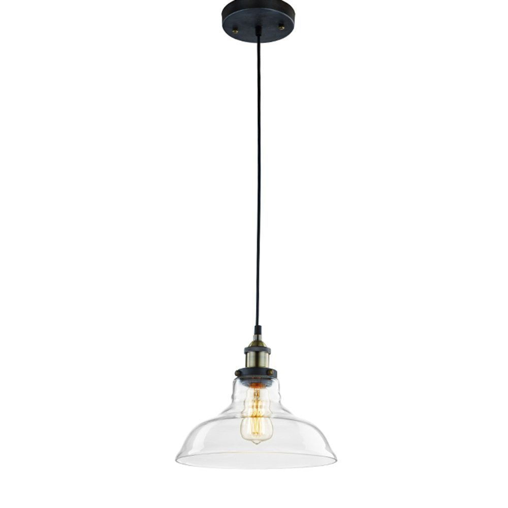 CLAXY Ecopower Industrial Edison Vintage Style 1-Light Pendant Glass Hanging