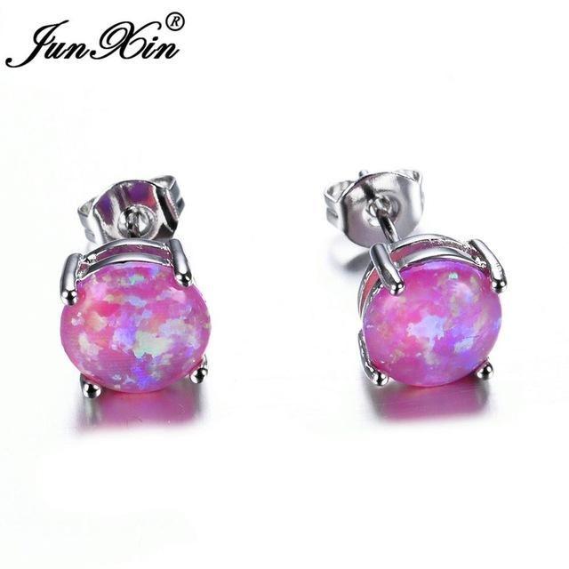 4aa1782dc JUNXIN Female White/Blue/Purple 6MM Round Fire Opal Stud Earring 925  Sterling Silver Filled Jewelry Double Earrings For Women