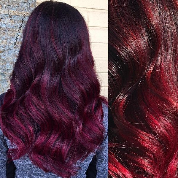 Red And Black Hair Color Ideas Balayage Ombre Highlights Black Hair With Red Highlights Black Red Hair Black Hair With Highlights