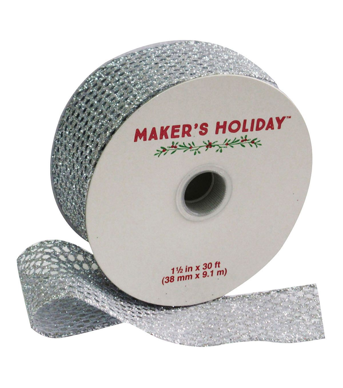 Maker's Holiday Mesh Ribbon With Glitter 1 5''x30'-Silver