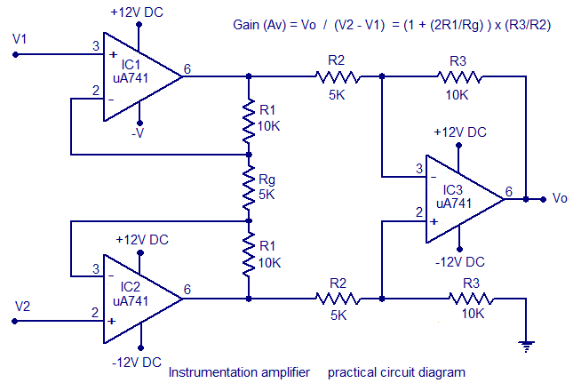 Instrumentation Amplifier using Opamp,Circuit Diagram ...