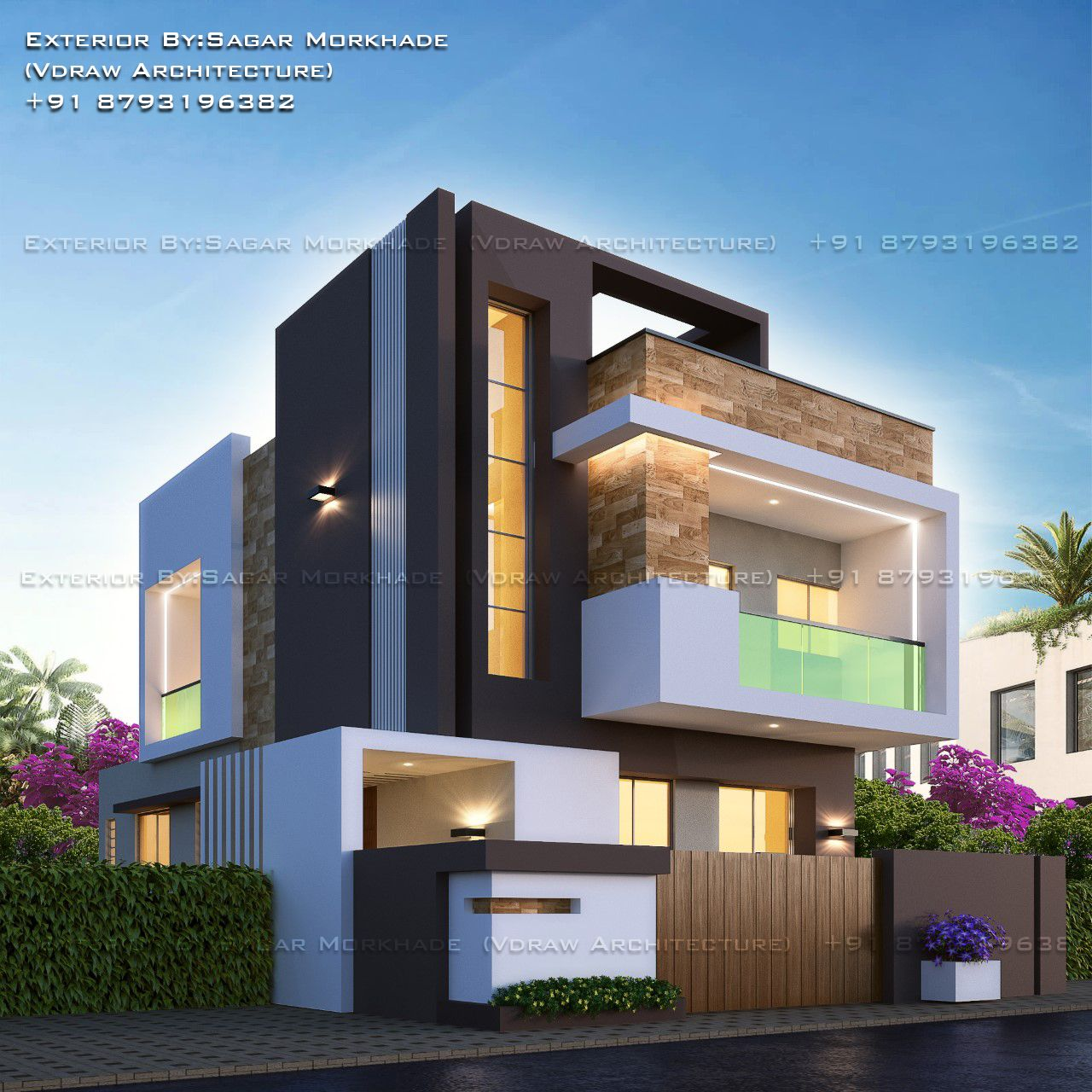 Modern residential house bungalow exterior by argar morkhade vdraw architecture also rh pinterest