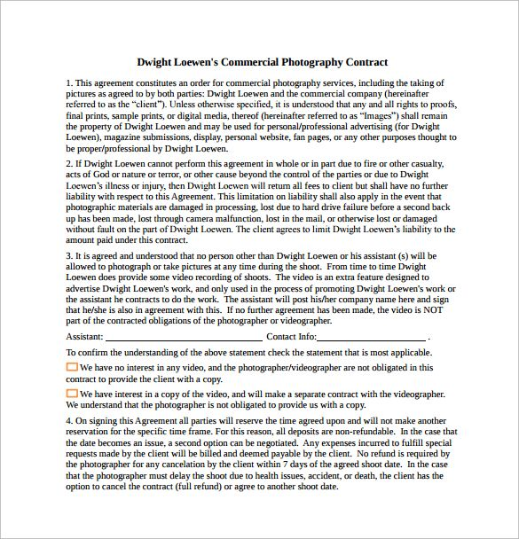 Commercial Photography Contract Free Download in PDF – Photography Contract
