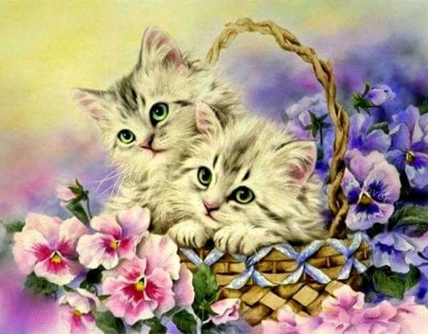 Creative Rose And Cat Cross Diamond Paint Embroidery Bedroom Decorative Craft LA