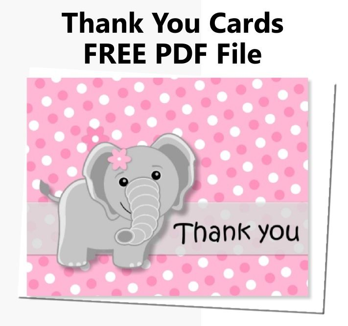 image relating to Free Printable Baby Shower Thank You Cards named No cost Printable Obtain Red Elephant Thank Yourself Playing cards