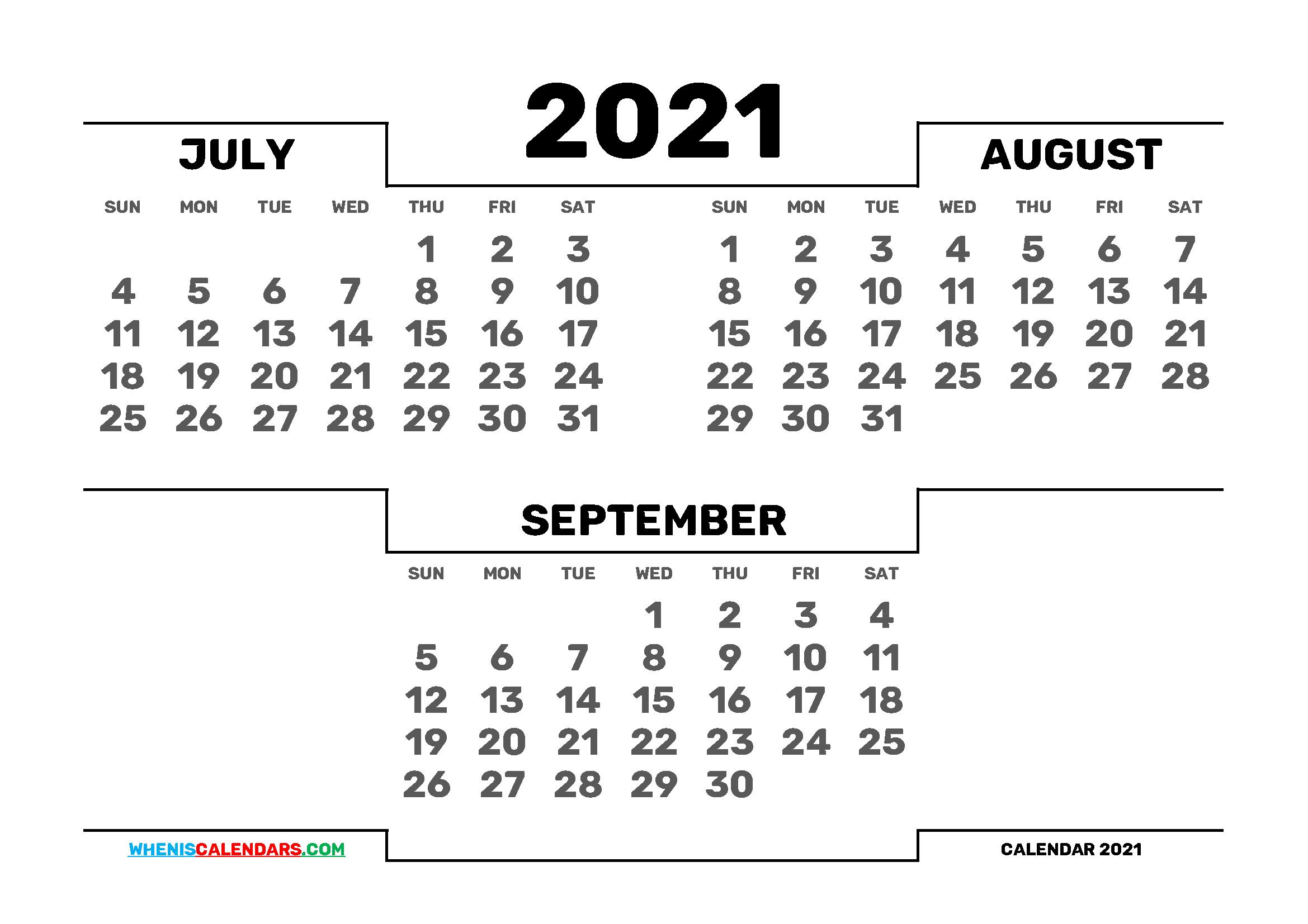 July August September 2021 Calendar Printable 3 Month Calendar In 2020 Calendar Printables 2021 Calendar 3 Month Calendar
