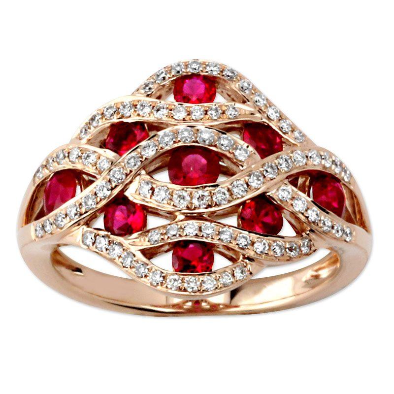 Ruby and Diamond Ring Rings, Diamond, Gemstones