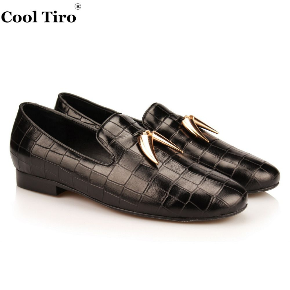 4754b74744d   38% Off   COOL TIRO Handmade black Stone pattern Genuine Leather Golden  ivory party and wedding Men Loafers male s Causal Flats shoes
