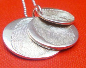 triple descending sterling silver fingerprint charms, fingerprint jewellery necklace, personalised jewellery, Mom jewellery, Dad jewellery